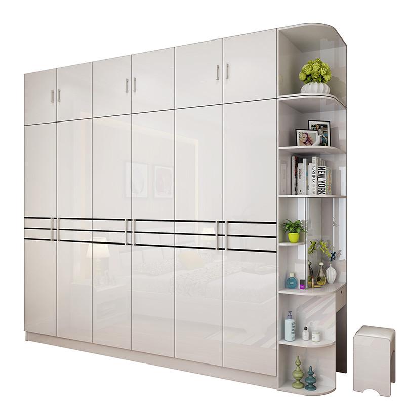 卡菲蒂现代简约衣柜五六门烤漆整体板式衣柜组装衣橱卧室家具组合
