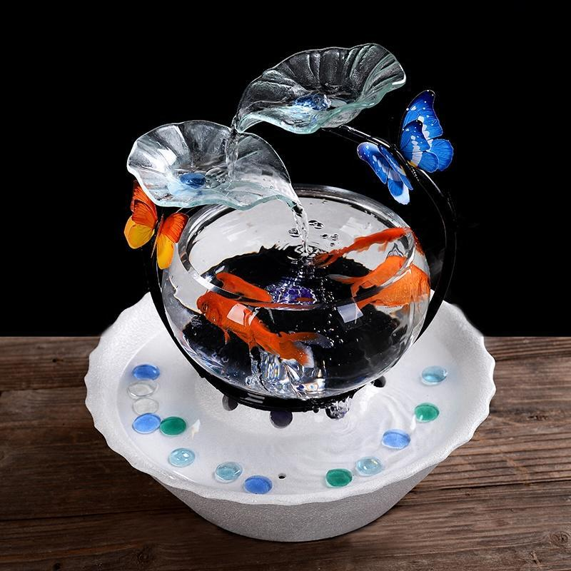 创意鱼缸流水摆件客厅风水招财加湿器电视柜家居桌面喷泉乔迁礼物
