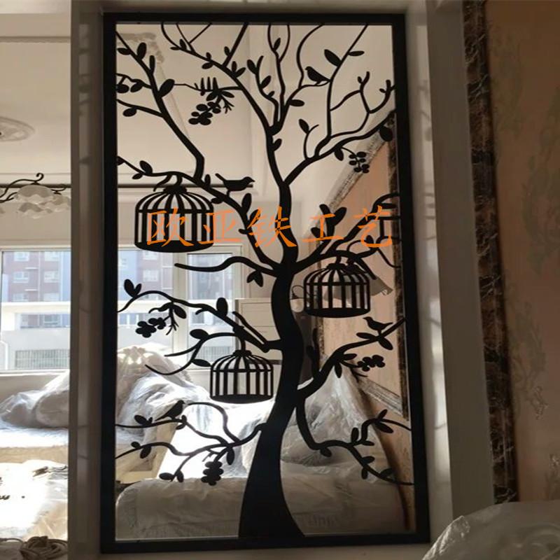 艾帛利aiboully客厅铁艺隔断玄关雕花烤漆 铁板屏风镂空 酒店餐厅花格