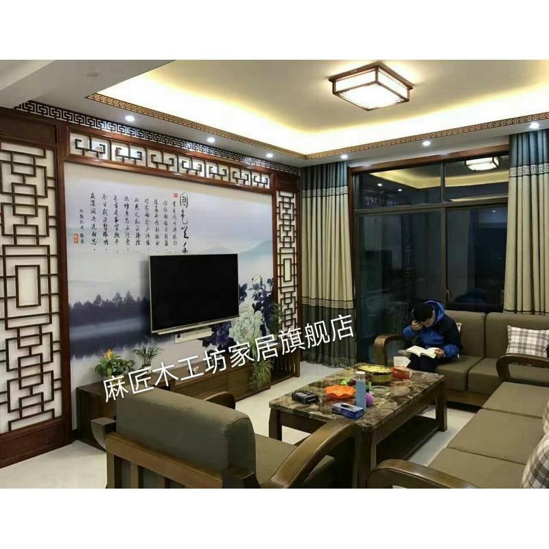 闽威东阳木雕新中式电视背景墙装饰实木花格镂空格栅隔断屏风吊顶格子图片