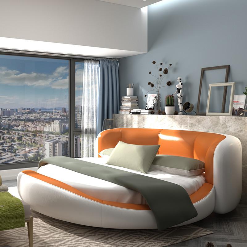 闽威圆床双人婚床简约现代创意个性卧室真皮公主床大户型榻榻米床