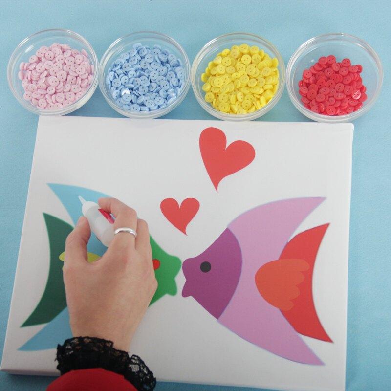 儿童手工制作益智纽扣画diy创意材料包迪士尼公主粘贴