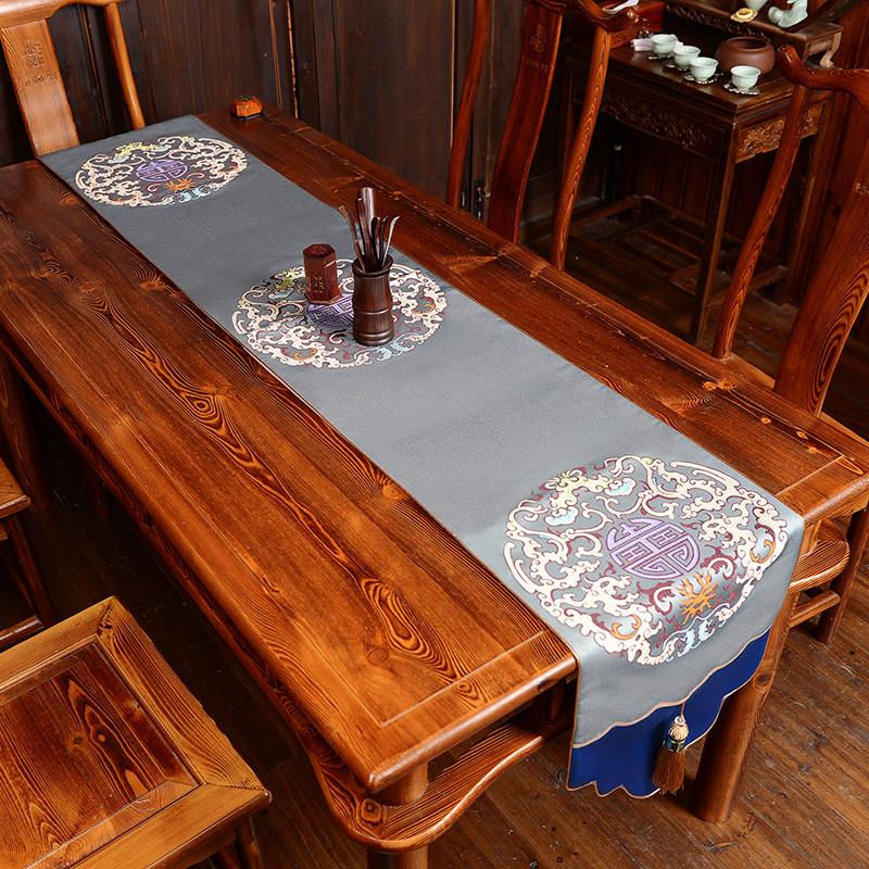 新中式桌旗 中国风古典桌布客厅餐桌电视柜茶几现代布艺床旗包邮