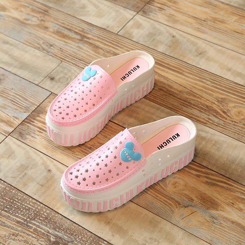 包头高防水台休闲坡跟女鞋 可爱卡通花园鞋鞋高跟凉鞋