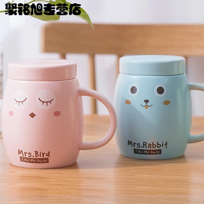 带盖勺陶瓷马克杯可爱家用喝水杯创意大容量咖啡杯牛奶杯