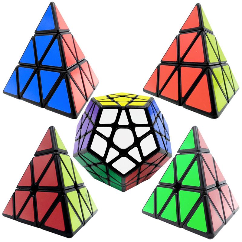 金字塔三角形魔方儿童学生专业比赛专用顺滑异形魔方套装组合 黑