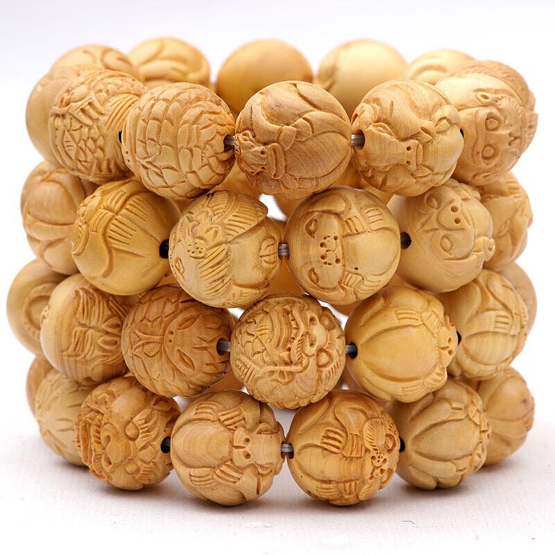 苏醒黄杨木雕刻十二生肖手串配饰品
