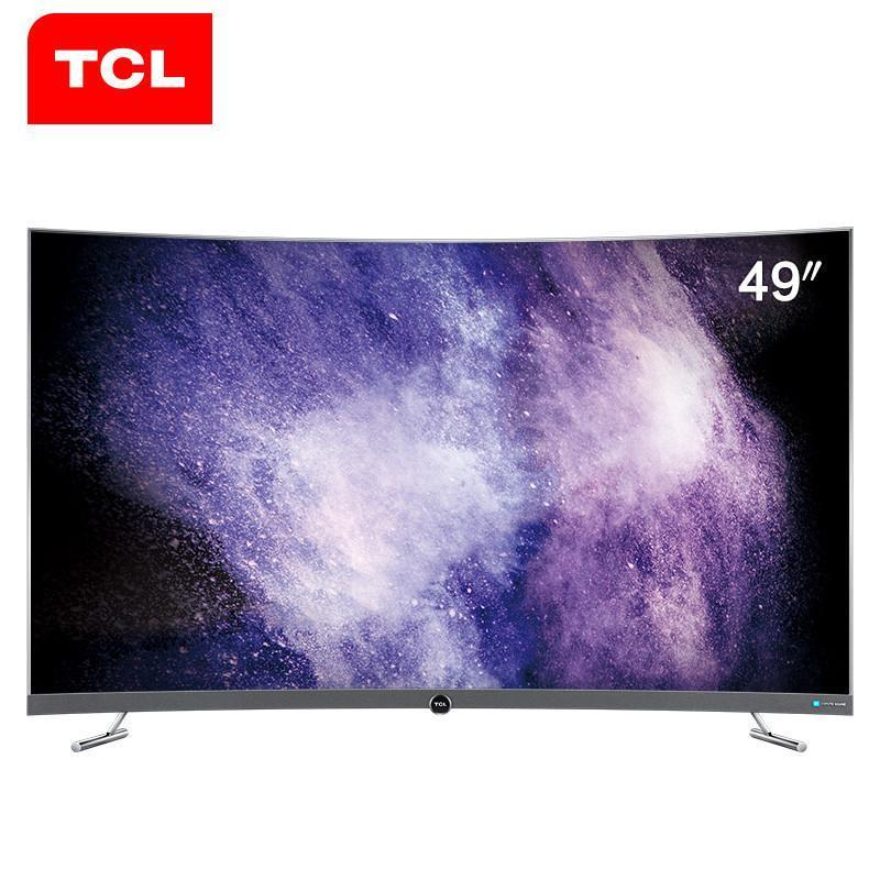 tcl 49p5 49英寸 4k超窄纤薄金属边框 64位32核人工智能曲面电视(枪色