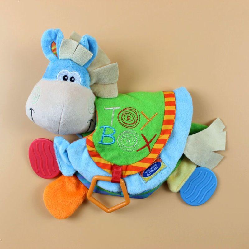 小驴牙胶动物布书 多功能认知益智布书带响纸bb器 婴儿玩具