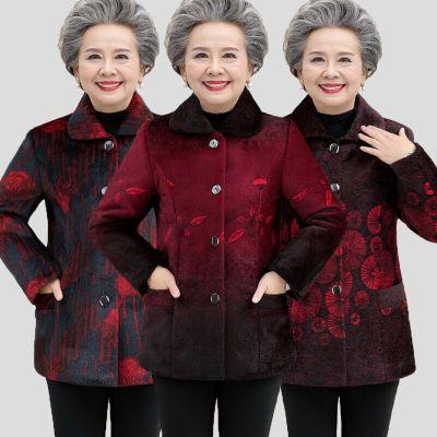 中老年女装秋冬装仿貂毛外套6070岁80奶奶装加绒加厚妈妈保暖外套 衫伊格(shanyige)