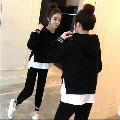 休闲运动服套装新款女春秋长袖学生2019新款韩版女装宽松卫衣两件套休闲运动套装优旋