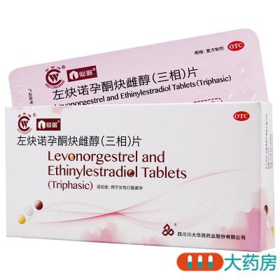 仙琚左炔诺孕酮炔雌醇三相片用于女性口服避孕