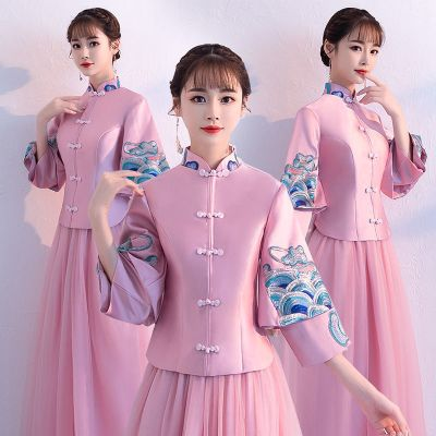 中式伴娘服女冬2018新款中国风粉色长袖伴娘团礼服长款姐妹裙