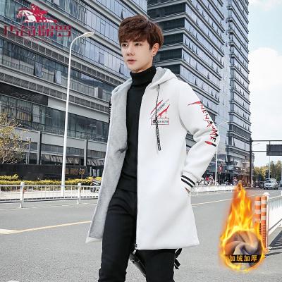 传奇保罗(CHUANQIBAOLUO)风衣男中长款秋冬季新款韩版潮流大衣男休闲加绒加厚帅气外套