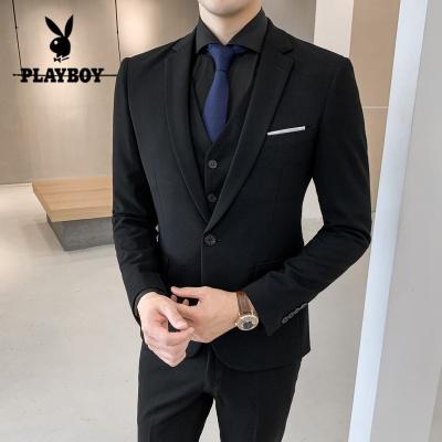 花花公子 ( PLAYBOY ICON )英伦风西服套装男新郎结婚礼服男士三件套修身韩版青年帅气小西装