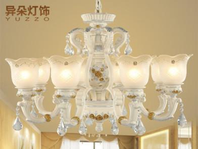 异朵 欧式吊灯水晶客厅吊灯树脂田园简欧卧室餐厅灯