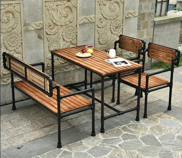 简易实木餐厅桌椅 酒吧咖啡馆桌椅卡座