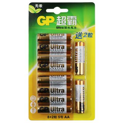 超霸GP碱性电池通用5号8+2粒五号耐用碱性干电池 儿童玩具/血压计/血糖仪/遥控器/挂钟/键盘电池