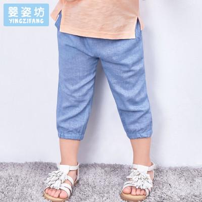 婴姿坊男童夏季棉麻纯色休闲宽松简约收脚舒适裤1-5岁 73-120码