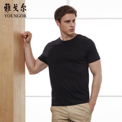 自营 Youngor/雅戈尔男士短袖男超t水柔棉商务休闲T恤8549官方旗舰店