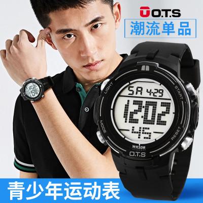 奥迪斯(O.T.S)高中生运动电子表 男表 学生韩版个性简约手表 男大数字30米生活防水计时夜光表OTS7028