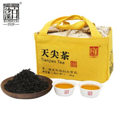 湖南茶叶安化黑茶湘尖茶 白沙溪一级料散茶 传统天尖茶竹篓装2kg