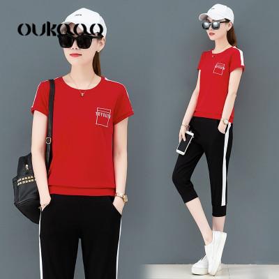 欧卡奥休闲运动服套装女夏季2019新款夏装女装时尚显瘦短袖七分裤两件套