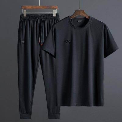 欧卡奥OUKAAO 大码休闲套装男夏季新款休闲短袖两件套加肥加大肥佬套装